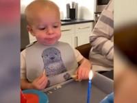 Η ξεκαρδιστική προσπάθεια ενός μικρού αγοριού να σβήσει ένα κεράκι