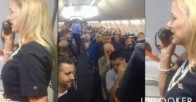 Aεροσυνοδός δίνει οδηγίες ασφάλειας & οι επιβάτες ξεσπούν σε γέλια (βίντεο)