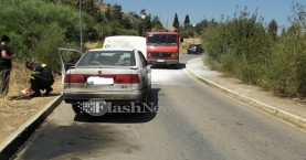 Πυρκαγιά σε αυτοκίνητο εν κινήσει στο Νοσοκομείο Χανίων (φωτο)
