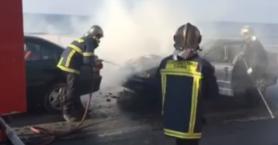 Αναστάτωση στην παραλιακή του Ηρακλείου από φλεγόμενο όχημα (βίντεο)