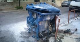 Κάηκε κάδος ανακύκλωσης στην Νέα Χώρα στα Χανιά