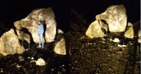 Τεράστιοι βράχοι έπεσαν σε δρόμο στην Κίσσαμο Χανίων (φωτο)