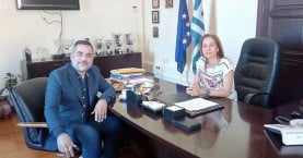 Ο Δήμαρχος Οροπεδίου Λασιθίου με την νέα Συντονίστρια Αποκεντρωμένης Δ/σης