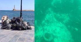 Χανιά: Ένα λιμάνι γεμάτο σκουπίδια (φωτό - βίντεο)