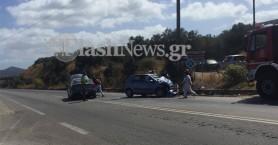 Σύγκρουση αυτοκινήτων στο Καστέλι - Δυο τραυματίες (φωτό)