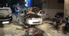 Πυρκαγιά σε αυτοκίνητο σε πεζόδρομο στο κέντρο του Ηρακλείου (φωτο)