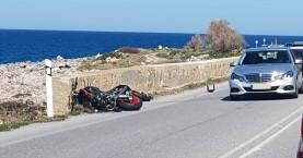 Σοβαρό τροχαίο με 2 μοτοσικλέτες και ένα ΙΧ στην εθνική οδό Χανίων - Ρεθύμνου (φωτο)