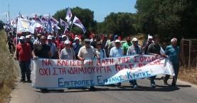 Παγκρήτια πορεία στην νατοϊκή βάση στο Ακρωτήρι Χανίων
