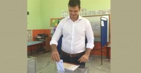 Στο δημοτικό σχολείο του Νέου Χωριού στον Δ. Αποκορώνου ψήφισε ο Αλέξανδρος Μαρκογιαννάκης