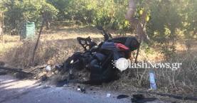 Νεκρός οδηγός μοτοσικλέτας μετά από τροχαίο στα Χανιά (φωτο)