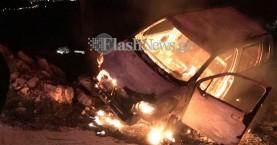 Χανιά: Γλίτωσε από τον γκρεμό, γλίτωσε και από το φλεγόμενο όχημά του (φωτο)