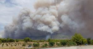 Μεγάλη φωτιά πάνω από την Κινέτα Αττικής (φωτο)