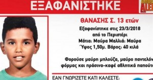 Βρέθηκε ο 13χρονος Θανάσης που είχε εξαφανιστεί στις 23Μαρτίου