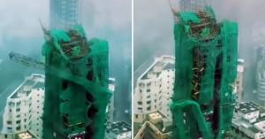 Δείτε τον υπερτυφώνα να γκρεμίζει γερανό από ουρανοξύστη στο Χονγκ Κονγκ