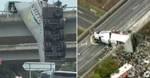 Φορτηγό κατέληξε κρεμασμένο από γέφυρα στην Αυστραλία