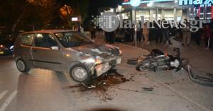 Σφοδρή σύγκρουση ΙΧ με μοτο στα Χανιά – Τραυματίας ο οδηγός της μοτό (φωτο)
