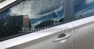 Λαμία: Έσπασε με το κεφάλι παράθυρο αυτοκινήτου (φωτο)