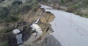 Κλειστός δρόμος στο Αμάρι λόγω κατολίσθησης