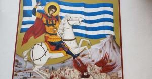 Δημιούργησαν τοιχογραφία του Άι Γιώργη στα Ανώγεια με αντιφασιστικά μηνύματα!