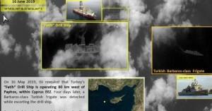Δορυφορική φωτογραφία του τουρκικού γεωτρύπανου «Πορθητής» δυτικά της Πάφου