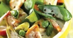 Τηγανιά χοιρινή με λαχανικά και γιαούρτι