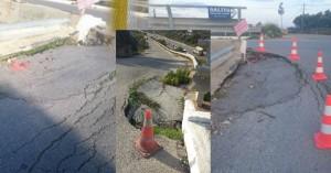 Η επικίνδυνη καθίζηση στην γέφυρα Δαράτσου γίνεται 4 ετών!