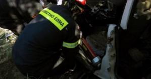 Αμάξι ανετράπη μετά από τροχαίο