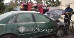 Στις φλόγες αυτοκίνητο στα Χανιά (φωτο)