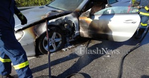 Φωτιά σε αυτοκίνητο στην Εθνική οδό στα Χανιά-Τελευταία στιγμή πρόλαβαν οι επιβάτες (φωτο)