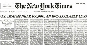 Συγκλονίζει το πρωτοσέλιδο των New York Times για τους νεκρούς του κορονοϊού