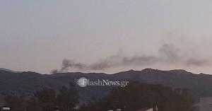 Πυρκαγιά στο βουνό πάνω από το Νοσοκομείο Χανίων (φωτο)