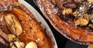 Pancake φούρνου με παγωτό και μπανάνα