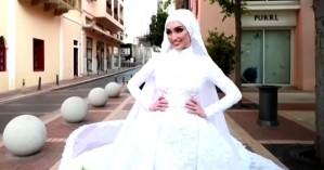 Θλιμμένη επέτειος γάμου για τη νύφη που έζησε την καταστροφική έκρηξη της Βηρυτού (vid)
