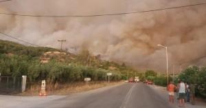 Aνεξέλεγκτη η φωτιά στην Εύβοια - Δύο τα ενεργά μέτωπα