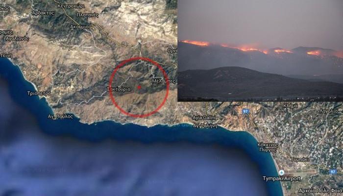 Δύσκολη νύχτα για τα νότια του Ρεθύμνου απο την μεγάλη πυρκαγιά (βίντεο)