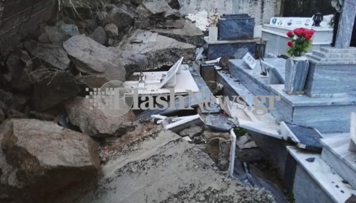 Καταστράφηκαν τάφοι κοιμητηρίου στα Χανιά λόγω κακοκαιρίας (φωτο - βίντεο)
