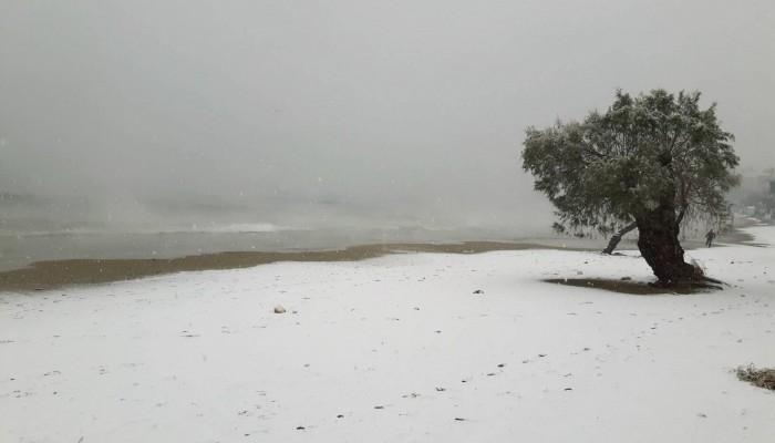 Στα λευκά ντύθηκε η παραλία της Νέας Χώρας (φωτό)