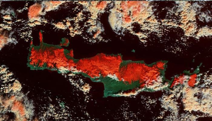 Εντυπωσιακές δορυφορικές φωτο απο την χιονισμένη Κρήτη