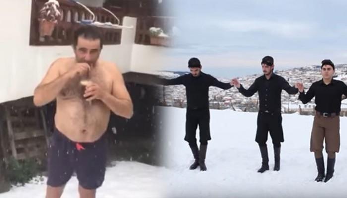 Άλλοι πίνουν φραπέ ημίγυμνοι και άλλοι χορεύουν στα χιόνια της Κρήτης