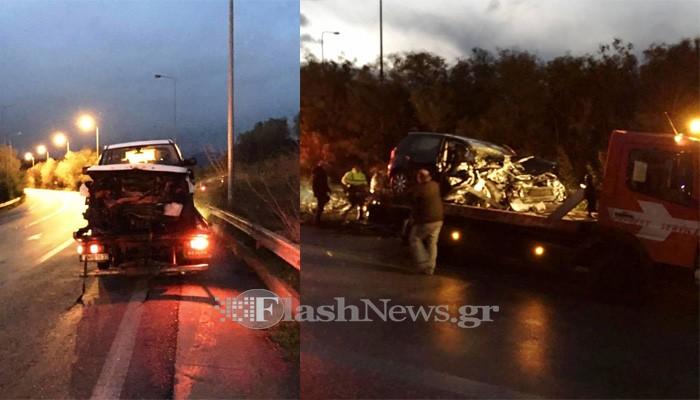 Τροχαίο με τρεις τραυματίες στην εθνική οδό στις Καλύβες Αποκορώνου (φωτο)