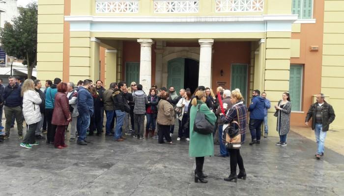Συγκέντρωση διαμαρτυρίας των πρακτόρων του ΟΠΑΠ στην Περιφέρεια