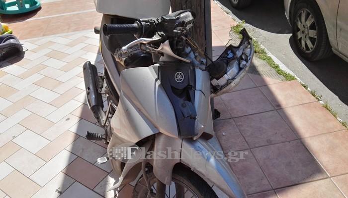 Τροχαίο με τραυματία οδηγό μοτό στην οδό Κισάμου στα Χανιά (φωτο)