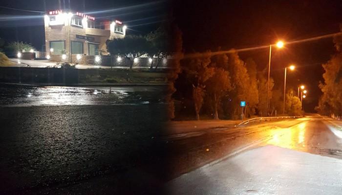 Νερά γεμίζουν τον δρόμο στο δήμο Χερσονήσου κάνοντας επικίνδυνη την οδήγηση