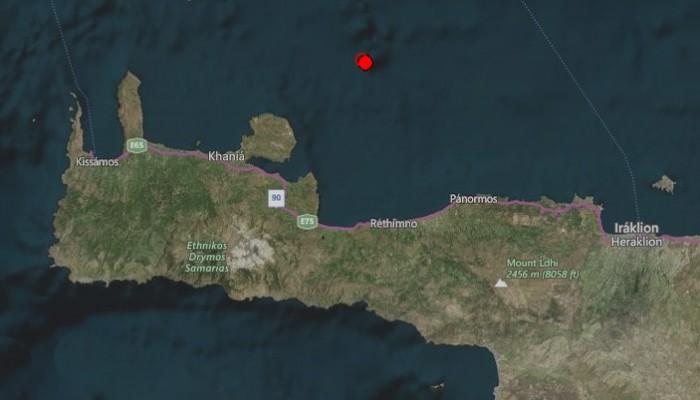 Βραδινός σεισμός βόρεια των Χανίων