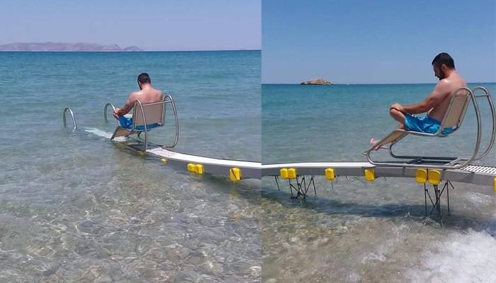 ΑΜΕΑ:Συσκευή αυτόνομης πρόσβασης στην θάλασσα στην δημοτική Ακτή Καρτερού