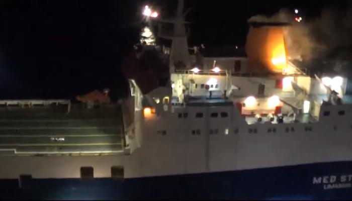 Super Puma διασώζει το πλήρωμα του πλοίου που έπιασε φωτιά στην Ρόδο