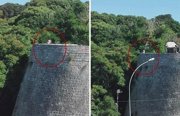 Σοκ στo Hράκλειο: Γυναίκα στα τείχη ...μία ανάσα από την πτώση