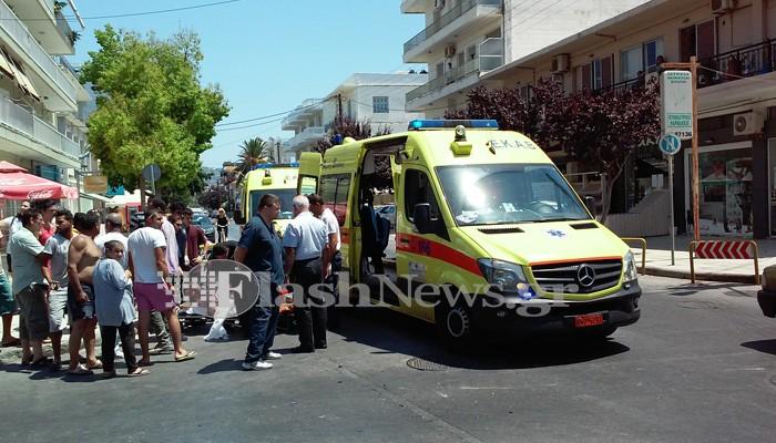 Τροχαίο με τραυματίες σε σύγκρουση αυτοκινήτου με δίκυκλο στα Χανιά (φωτο)