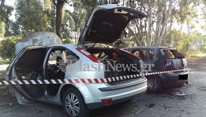 Χανιά:Στις φλόγες δυο αυτοκίνητα που ήταν σταθμευμένα σε πάρκινγκ