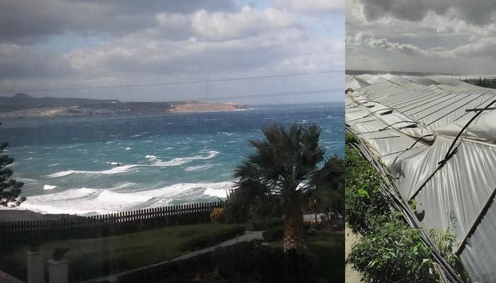 Θυελλώδεις άνεμοι σαρώνουν Ιεράπετρα και Τυμπάκι